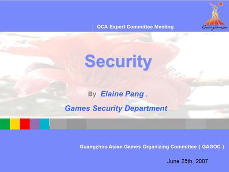 OCA IT Audit & Consulting Workshop—Session One Guangzhou Asian Games Organizing Committee ( GAGOC ) OCA Expert Committee Meeting June 25th, 2007 Security.