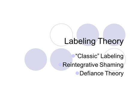 """Classic"" Labeling Reintegrative Shaming Defiance Theory"