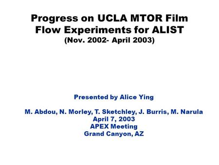 Progress on UCLA MTOR Film Flow Experiments for ALIST (Nov. 2002- April 2003) Presented by Alice Ying M. Abdou, N. Morley, T. Sketchley, J. Burris, M.