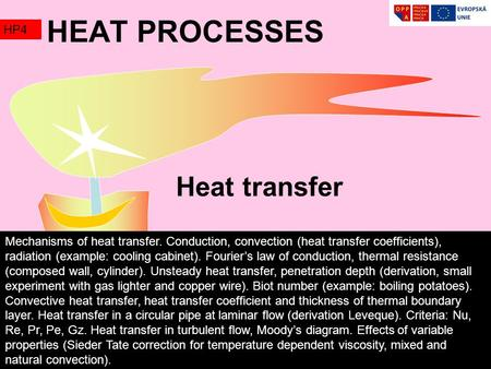 HEAT PROCESSES Heat transfer HP4