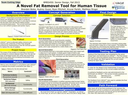 A Novel Fat Removal Tool for Human Tissue Brandon Boles, Audrey Guyer, Ryan Mitchell, Krunal Parikh, Matthew Ringer Overview Background Information The.
