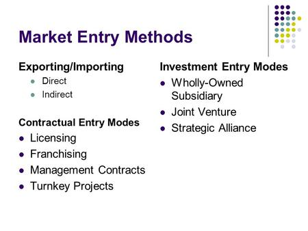 Market Entry Methods Exporting/Importing Licensing Franchising