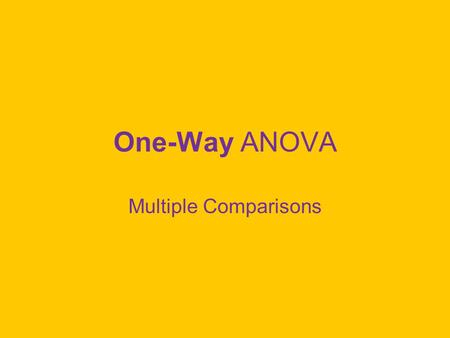 One-Way ANOVA Multiple Comparisons.