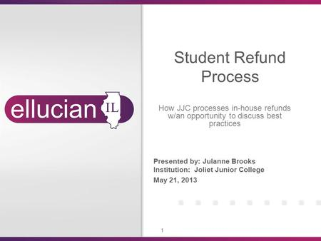 1 Presented by: Julanne Brooks Institution: Joliet Junior College May 21, 2013 Student Refund Process How JJC processes in-house refunds w/an opportunity.