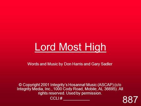 Words and Music by Don Harris and Gary Sadler
