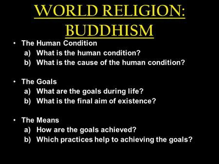 WORLD RELIGION: BUDDHISM