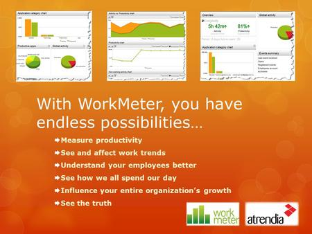 With WorkMeter, you have endless possibilities…  Measure productivity  See and affect work trends  Understand your employees better  See how we all.