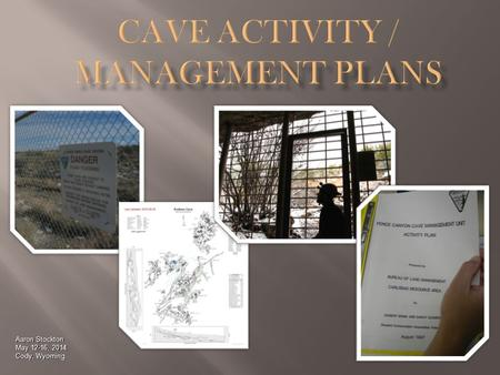 Aaron Stockton May 12-16, 2014 Cody, Wyoming.  You will Learn  Why having cave activity plans is important  What guides a plan  What goes into a plan.