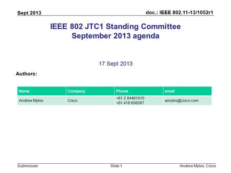 Doc.: IEEE 802.11-13/1052r1 Submission Sept 2013 Andrew Myles, CiscoSlide 1 IEEE 802 JTC1 Standing Committee September 2013 agenda 17 Sept 2013 Authors: