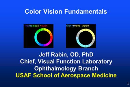 1 Color Vision Fundamentals Jeff Rabin, OD, PhD Chief, Visual Function Laboratory Ophthalmology Branch USAF School of Aerospace Medicine.
