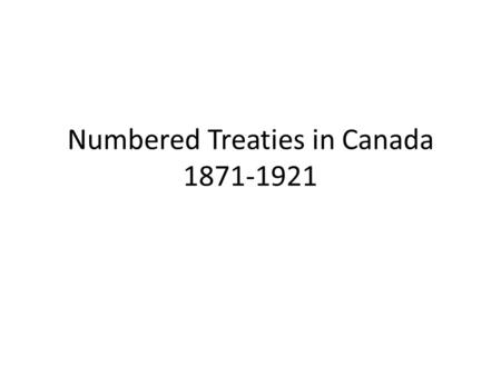 Numbered Treaties in Canada
