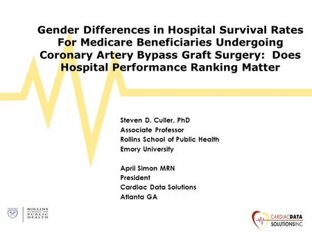 Gender Differences in Hospital Survival Rates For Medicare Beneficiaries Undergoing Coronary Artery Bypass Graft Surgery: Does Hospital Performance Ranking.