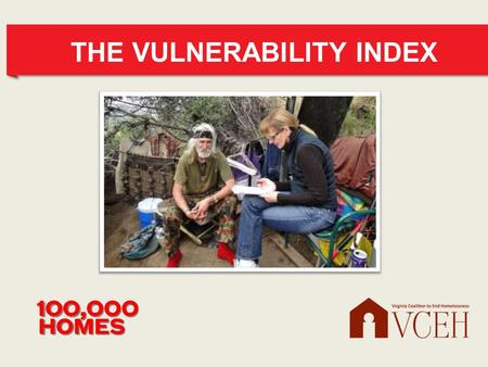 THE VULNERABILITY INDEX. INTRODUCING Linda Kaufman Eastern US Field Organizer, 100,000 Homes Campaign Linda has worked in homeless services in DC since.
