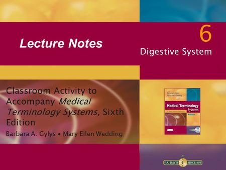 6 Lecture Notes Digestive System