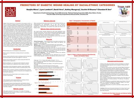 PREDICTORS OF DIABETIC WOUND HEALING BY RACIAL/ETHNIC CATEGORIES Ranjita Misra 1, Lynn Lambert 2, David Vera 3, Ashley Mangaraj 3, Suchin R Khanna 3, Chandan.