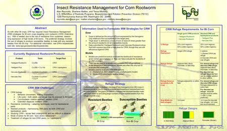 Insect Resistance Management for Corn Rootworm Alan Reynolds, Sharlene Matten, and Tessa Milofsky U.S. EPA/Office of Pesticide Programs, Biopesticides.