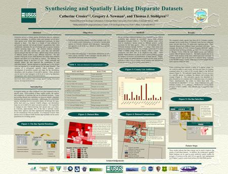 Synthesizing and Spatially Linking Disparate Datasets Catherine Crosier 1,2, Gregory J. Newman 1, and Thomas J. Stohlgren 1,2 1 Natural Resource Ecology.