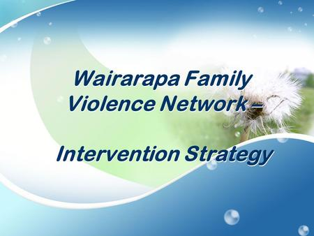 Wairarapa Family Violence Network – Intervention Strategy.