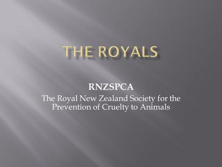 RNZSPCA The Royal New Zealand Society for the Prevention of Cruelty to Animals.