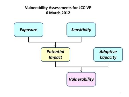 Vulnerability Assessments for LCC-VP 6 March 2012 Exposure Vulnerability Sensitivity Potential Impact Adaptive Capacity 1.