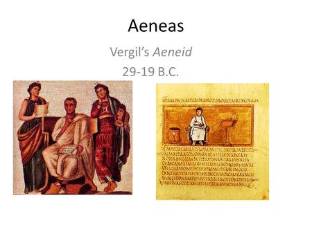 Aeneas Vergil's Aeneid 29-19 B.C.. Roman Nationalism denarius of Julius Caesar: 47-46 BC Aeneas leaves Troy carrying Anchises and Palladium.