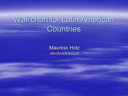 Wall chart for Latin American Countries Mauricio Holz UN-CELADE/ECLAC.