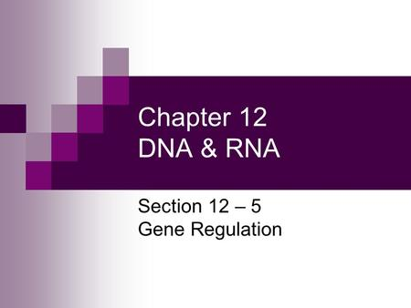 Section 12 – 5 Gene Regulation