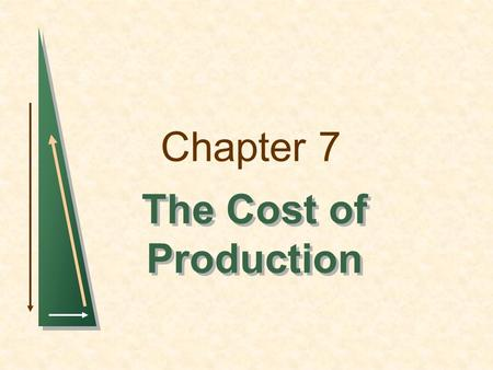 Chapter 7 The Cost of Production 1.