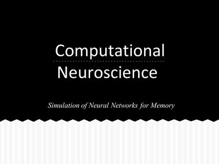 Computational Neuroscience Simulation of Neural Networks for Memory.
