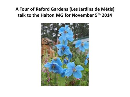 A Tour of Reford Gardens (Les Jardins de Métis) talk to <strong>the</strong> Halton MG for November 5 th 2014.