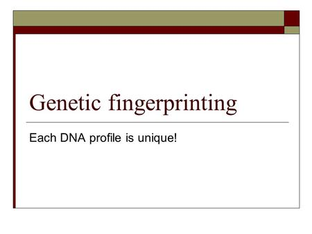 Genetic fingerprinting Each DNA profile is unique!
