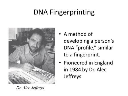 "DNA Fingerprinting A method of developing a person's DNA ""profile,"" similar to a fingerprint. Pioneered in England in 1984 by Dr. Alec Jeffreys Dr. Alec."