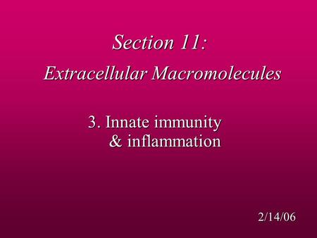 Section 11: Extracellular Macromolecules 3. Innate immunity & inflammation 2/14/06.