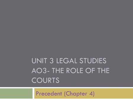 UNIT 3 LEGAL STUDIES AO3- THE ROLE OF THE COURTS