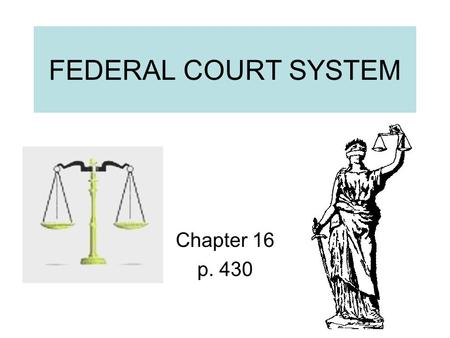 FEDERAL COURT SYSTEM Chapter 16 p. 430.