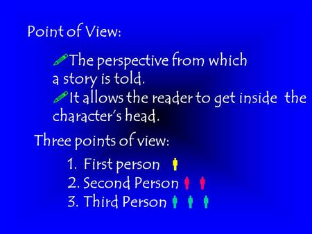 Point of View:  The perspective from which a story is told.  It allows the reader to get inside the character's head. Three points of view: 1.First.