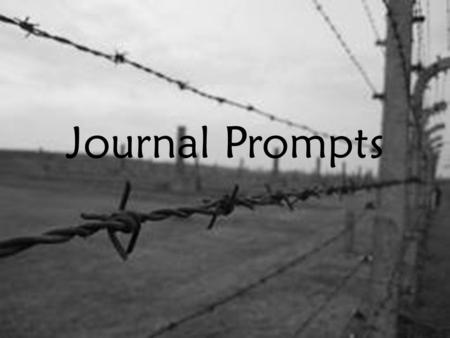 Journal Prompts. The United States has just announced that the race or religion you belong to is undesirable. You are now looked upon with hatred and.