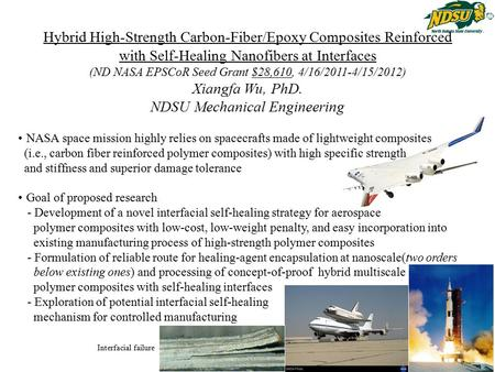 Hybrid High-Strength Carbon-Fiber/Epoxy Composites Reinforced with Self-Healing Nanofibers at Interfaces (ND NASA EPSCoR Seed Grant $28,610, 4/16/2011-4/15/2012)