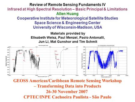 Review of Remote Sensing Fundaments IV Infrared at High Spectral Resolution – Basic Principal & Limitations Allen Huang Cooperative Institute for Meteorological.