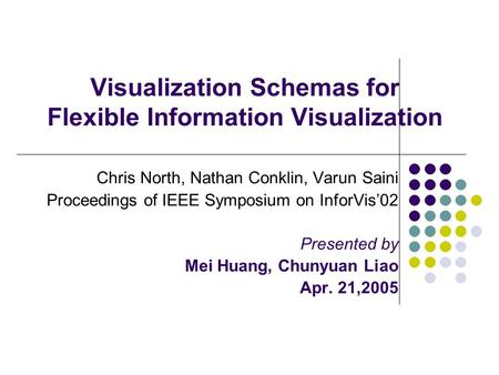 Visualization Schemas for Flexible Information Visualization Chris North, Nathan Conklin, Varun Saini Proceedings of IEEE Symposium on InforVis'02 Presented.