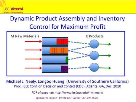 Dynamic Product Assembly and Inventory Control for Maximum Profit Michael J. Neely, Longbo Huang (University of Southern California) Proc. IEEE Conf. on.
