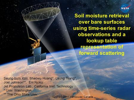 Soil moisture retrieval over bare surfaces using time-series radar observations and a lookup table representation of forward scattering Seung-bum Kim,