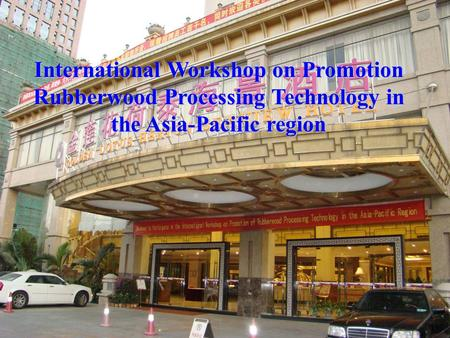 International Workshop on Promotion Rubberwood Processing Technology in the Asia-Pacific region.