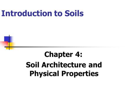 Introduction to Soils Chapter 4: Soil Architecture and Physical Properties.