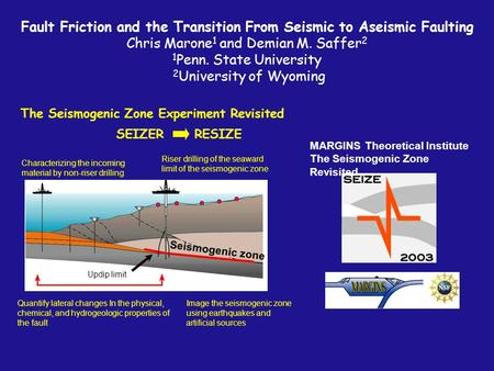 The Seismogenic Zone Experiment Revisited MARGINS Theoretical Institute The Seismogenic Zone Revisited Fault Friction and the Transition From Seismic.