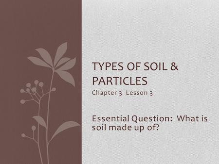 Chapter 3 Lesson 3 Essential Question: What is soil made up of? TYPES OF SOIL & PARTICLES.