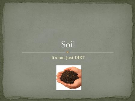 Soil It's not just DIRT.