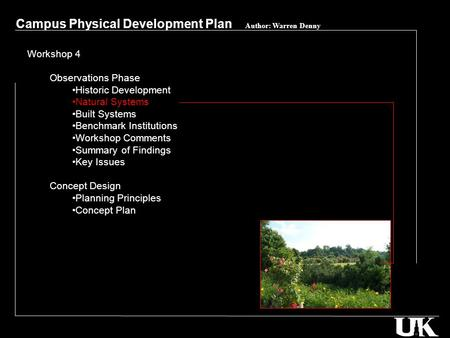 Campus Physical Development Plan Author: Warren Denny Workshop 4 Observations Phase Historic Development Natural Systems Built Systems Benchmark Institutions.
