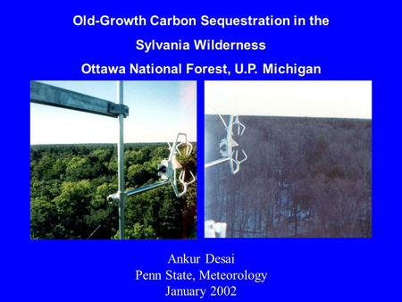 Old-Growth Carbon Sequestration in the Sylvania Wilderness Ottawa National Forest, U.P. Michigan Ankur Desai Penn State, Meteorology January 2002.