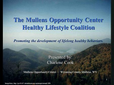 The Mullens Opportunity Center Healthy Lifestyle Coalition The Mullens Opportunity Center Healthy Lifestyle Coalition Promoting the development of lifelong.
